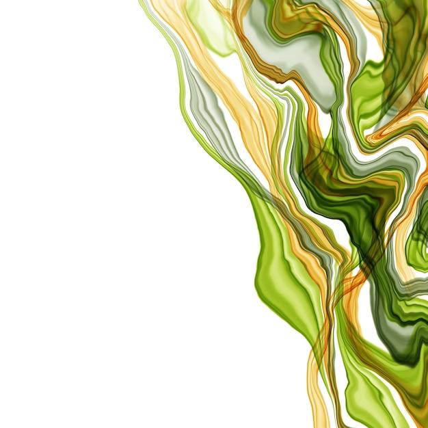 Verão abstrata mão desenhada aquarela ou álcool tinta fundo em tons de verdes e amarelos. estilo moderno. perfeito para poligrafia. ilustração raster. Foto Premium