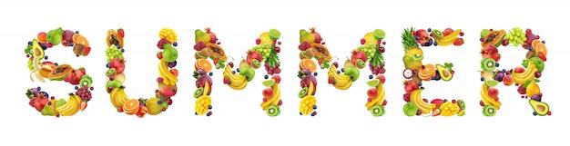 Verão de palavra feita de diferentes frutas e bagas, fonte de fruta isolada no branco Foto Premium