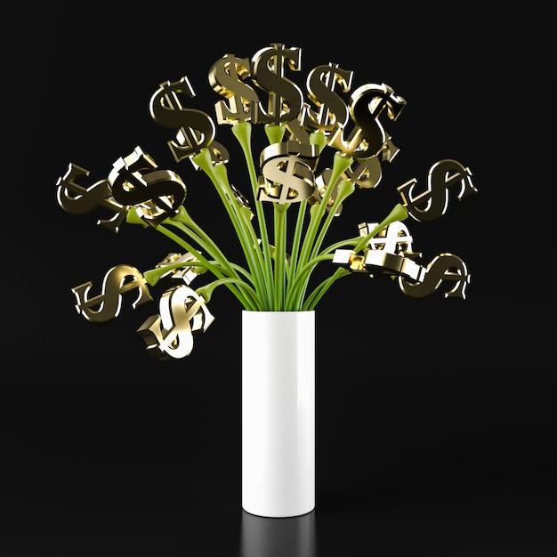 Verde dolar da árvore dos eu, rendição 3d. Foto Premium