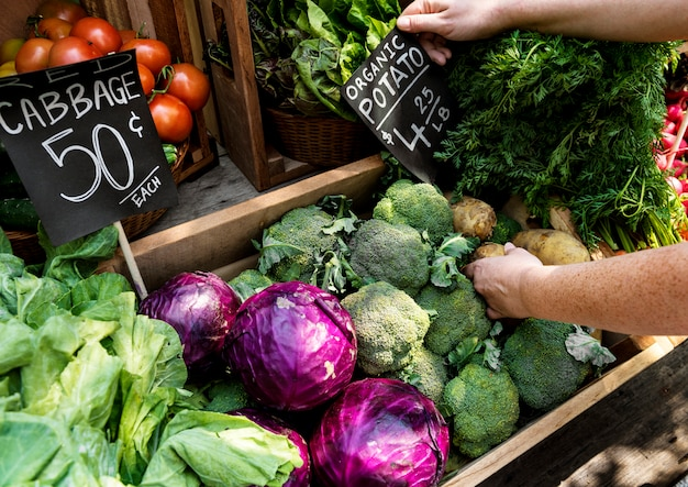 Verdureiro, preparando o produto agrícola fresco orgânico no mercado do fazendeiro Foto Premium