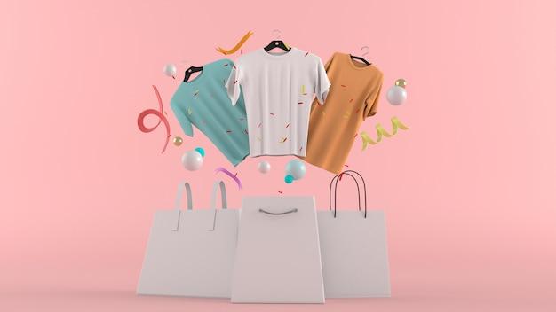 Vestidos, calças, moletons, chapéus, bolsas, sapatos de salto altos e óculos de sol entre bolas coloridas em uma renderização de parede 3d rosa. Foto Premium