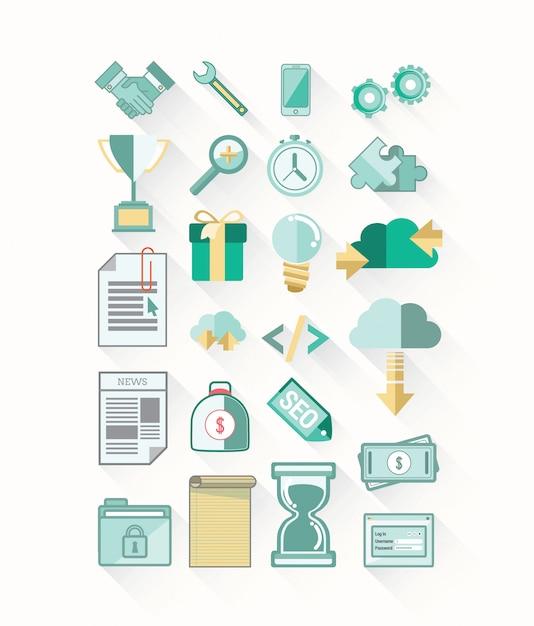 Vetor de ícones de negócios e tecnologia Foto Premium