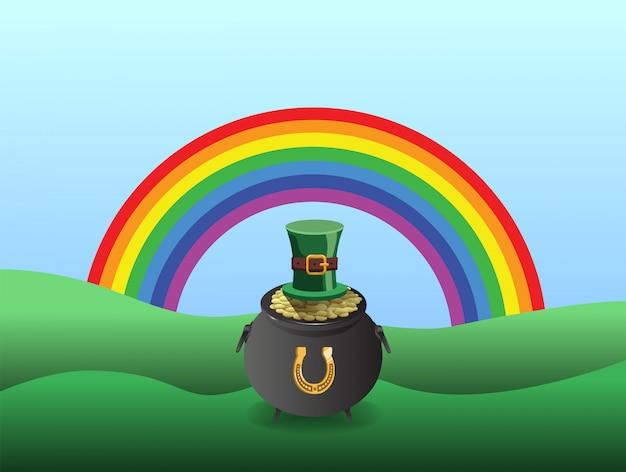 Vetor de st patricks day com pote de ouro e arco-íris Foto Premium