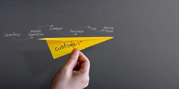 Viagem do cliente e conceito de experiência. mão, levantar, cima, papel, avião, contra, parede Foto Premium