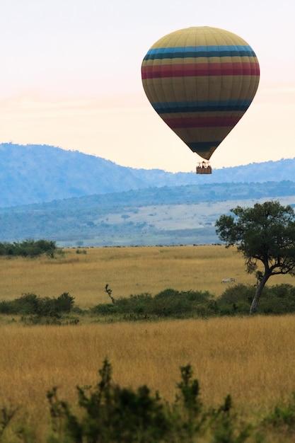Viajando em um balão de ar quente. quênia, áfrica Foto Premium