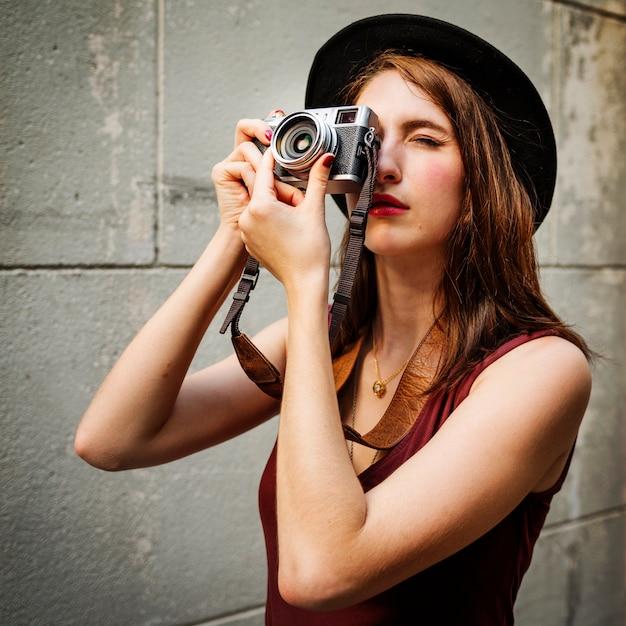 Viajante, fotografia, viagem, turista, menina, senhora, conceito Foto gratuita