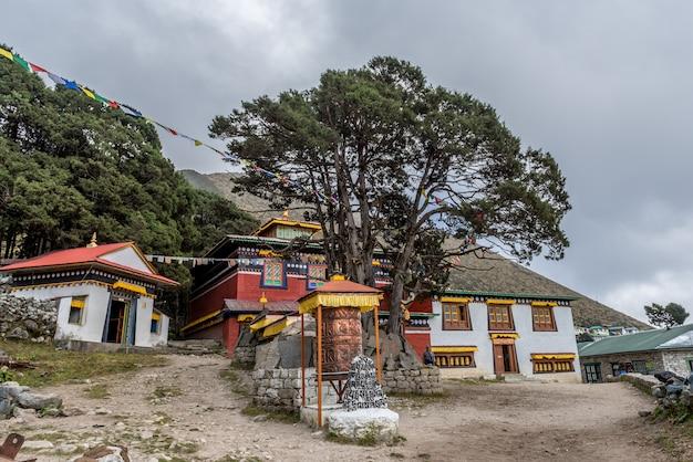 Viajante na aldeia khumjung visitar o crânio yeti no mosteiro khumjung em namche bazaar, Foto Premium