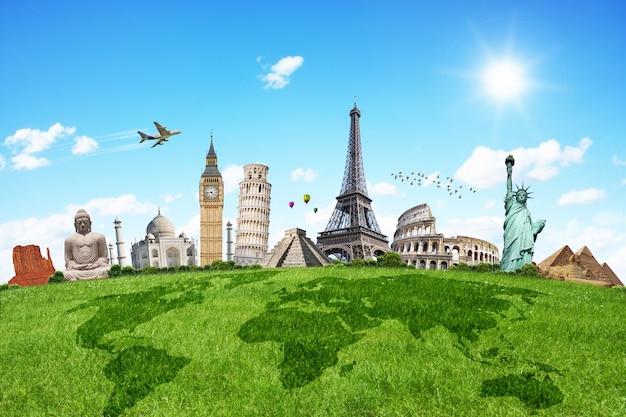 Viaje pelos monumentos do mundo Foto Premium