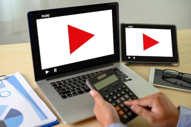 Video marketing áudio vídeo, mercado canais interativos, business media inovação tecnológica conceito de tecnologia de marketing Foto Premium