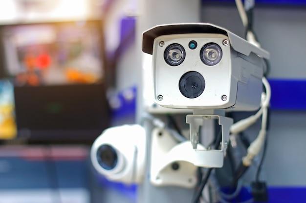 Vigilância por câmera de circuito fechado (câmera de circuito fechado) sistema de segurança Foto Premium