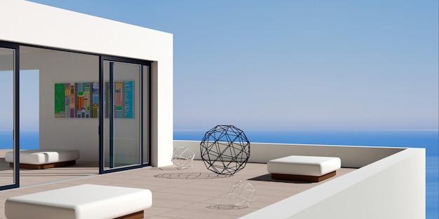 Villa marinha moderna no pátio Foto Premium