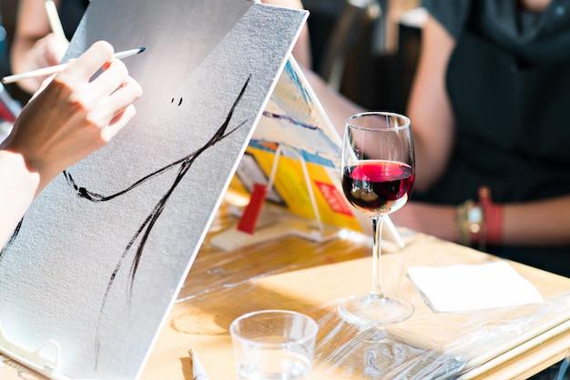 Vinho pintura a óleo Foto Premium