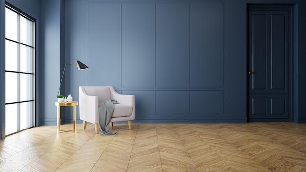 Vintage modern interior da sala de estar, sofá-de-rosa perto da lâmpada preta na mesa de ouro Foto Premium