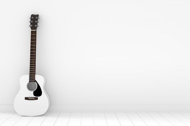 Violão branco no quarto branco vazio em renderização em 3d Foto Premium