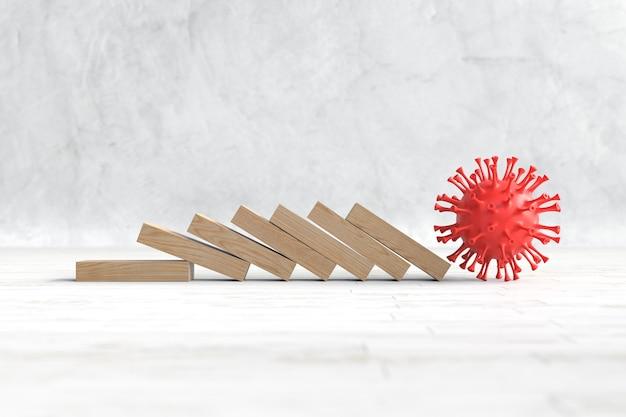 Vírus covid-19 quebram blocos de madeira, conceito de negócios e finanças. ilustração 3d Foto Premium