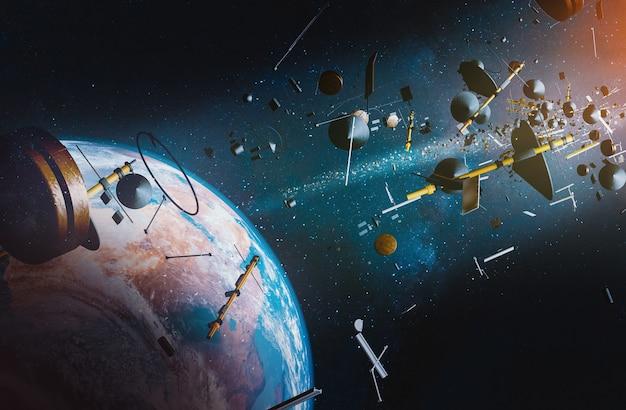 Vista aérea da terra cercada por lixo espacial de naves espaciais e satélites; ilustração 3d Foto Premium