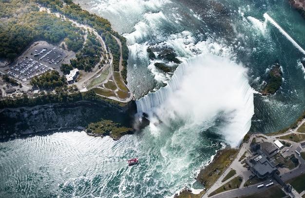 Vista aérea das cataratas do niágara, canadá Foto Premium