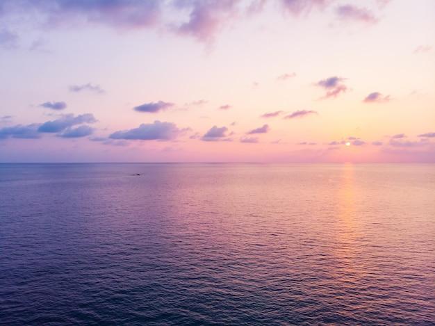 Vista aérea, de, bonito, praia, e, mar, com, coqueiro, árvore, em, pôr do sol Foto gratuita
