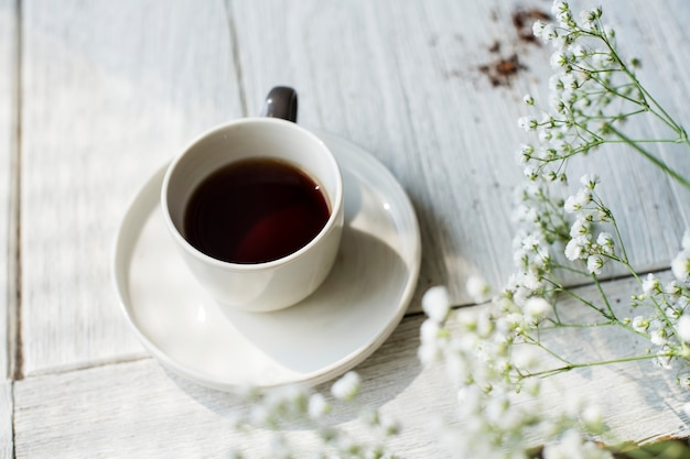 Vista aérea, de, café quente, bebida Foto gratuita