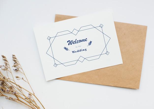 Vista aérea, de, cartão casamento convite Foto Premium