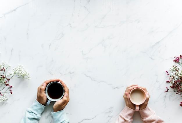 Vista aérea, de, chá quente, bebida Foto gratuita