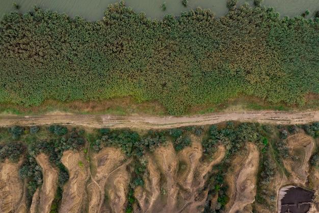 Vista aérea de cima da estrada rural que divide as dunas e grinery. textura de plantas verdes vista de cima. Foto gratuita