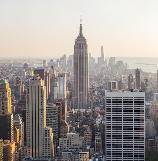 Vista aérea, de, manhattan, nova iorque Foto Premium