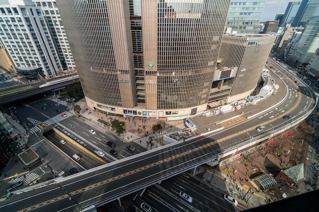 Vista aérea, de, passagem superior, com, carro multidão, e, pedestre, crosswalk, interseção, ginza, tráfego Foto Premium