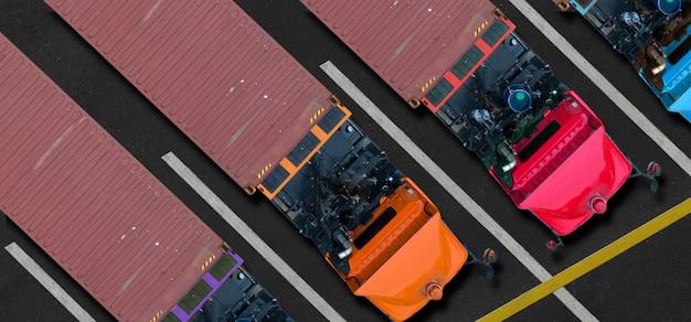 Vista aérea de topo de caminhões no estacionamento Foto Premium