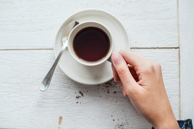 Vista aérea, de, um, bebida café quente Foto gratuita
