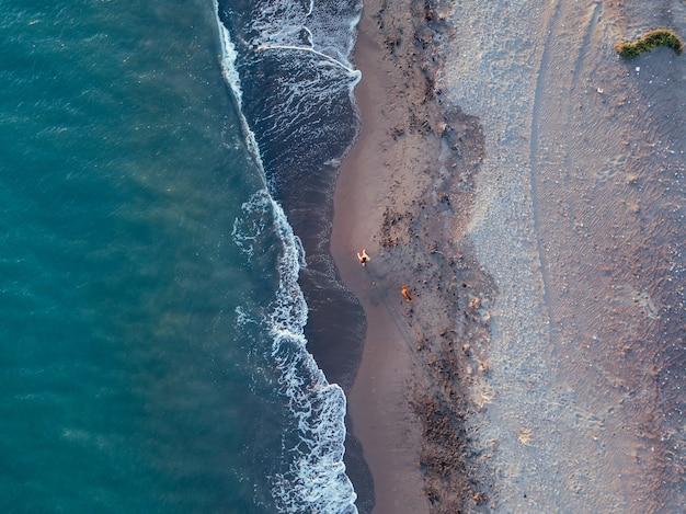 Vista aérea de uma menina com seu cachorro em uma praia virgem, no parque natural de punta entinas, almeria, espanha Foto Premium