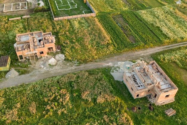 Vista aérea do estaleiro para futura casa Foto Premium