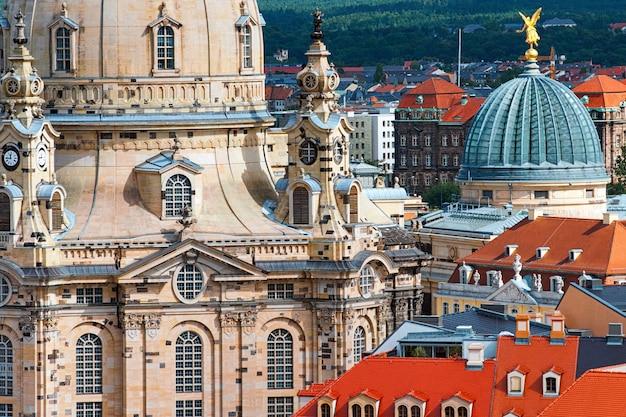 Vista aérea, sobre, frauenkirche, e, antigas, dresden Foto Premium