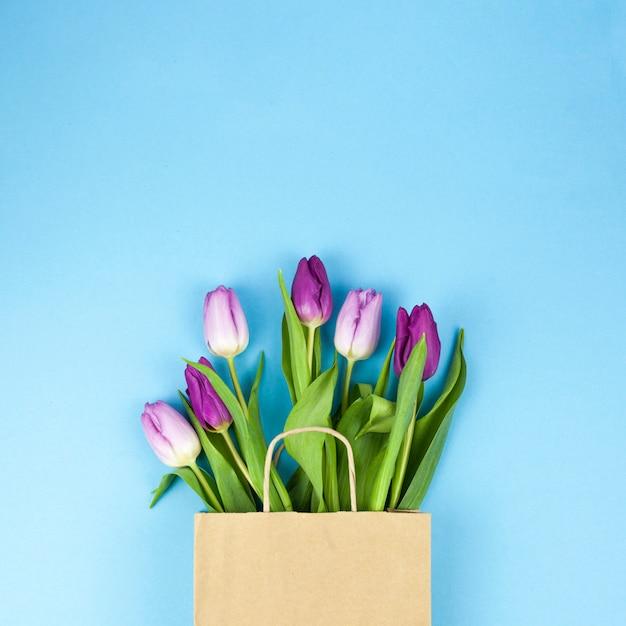 Vista alta ângulo, de, roxo, tulipa, flores, ligado, sacola marrom, contra, azul, fundo Foto gratuita