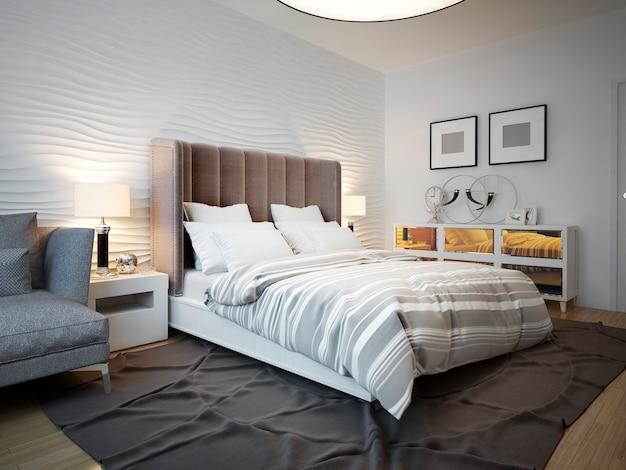 Vista da cama projetada no quarto contemporâneo. Foto Premium