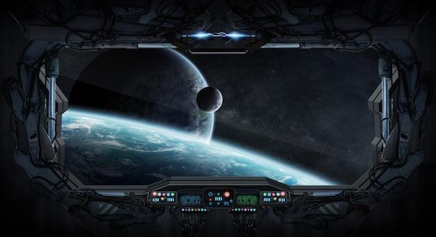 Vista da janela do espaço e planetas de uma estação espacial Foto Premium