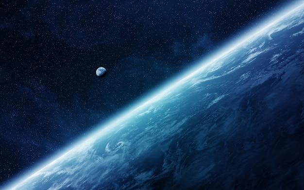 Vista da lua perto do planeta terra no espaço Foto Premium