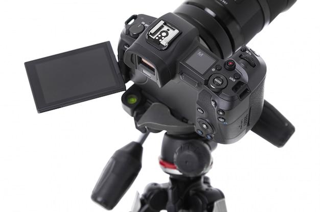 Vista de alto ângulo da tela da moderna câmera preta Foto Premium