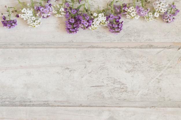 Vista de cima de placas danificadas com flores e espaço para mensagens Foto gratuita
