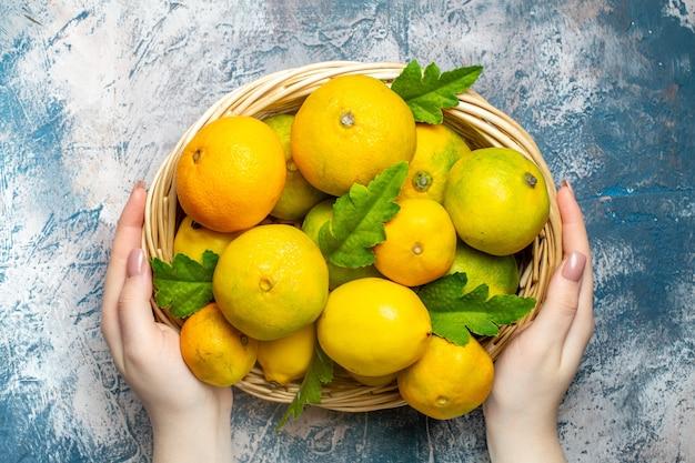 Vista de cima tangerinas frescas na cesta de vime na mão da mulher na superfície azul e branca Foto gratuita