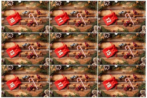 Vista de decorações com bolsas numeradas Foto gratuita