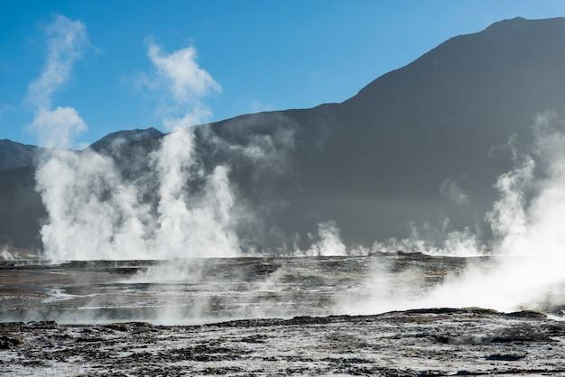 Vista, de, el tatio, gêiser, san pedro atacama, el loa, província, região antofagasta, chile Foto Premium
