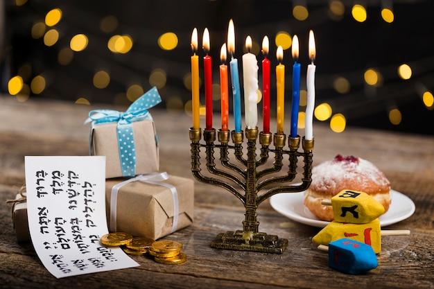 Vista de perto do belo conceito de hanukkah Foto gratuita