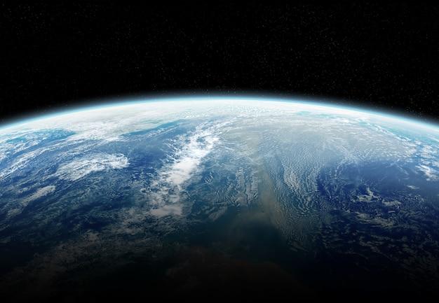 Vista, de, planeta, terra, cima, com, atmosfera, durante, um, amanhecer elementos, de, este, imagem, fornecido pela nasa Foto Premium