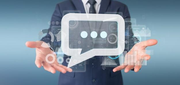 Vista, de, um, homem negócios, segurando, um, mensagem, ícone, com, dados, em, fundo, -, 3d, fazendo Foto Premium