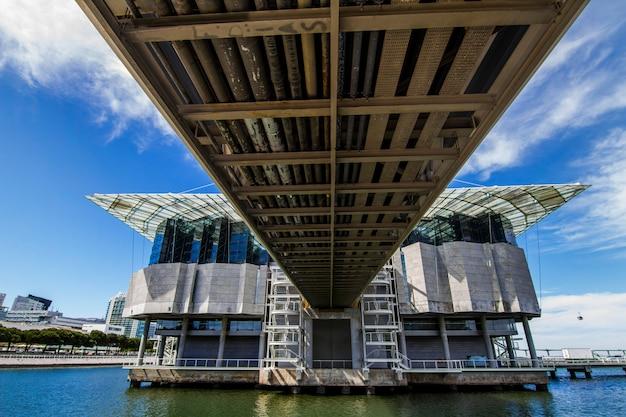 Vista do aquário interno o maior em europa, situada em lisboa, portugal. Foto Premium