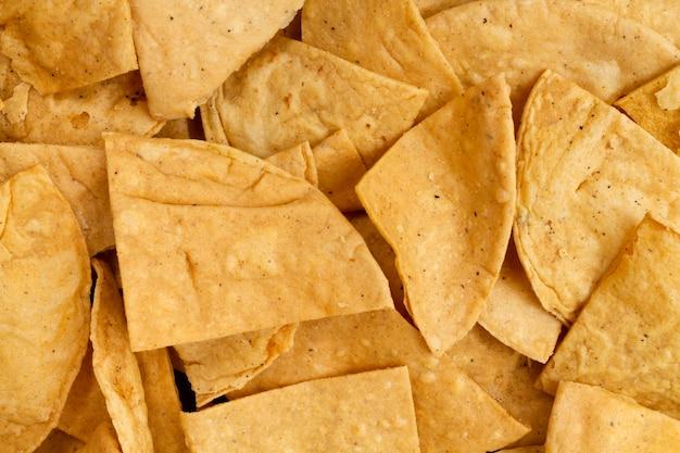 Vista do close-up de tortilla chips Foto gratuita