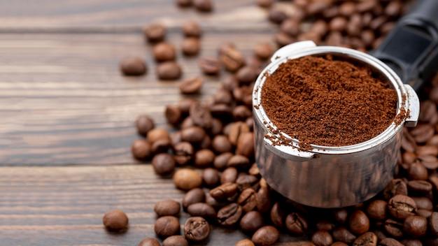 Vista do close-up do conceito de café Foto gratuita