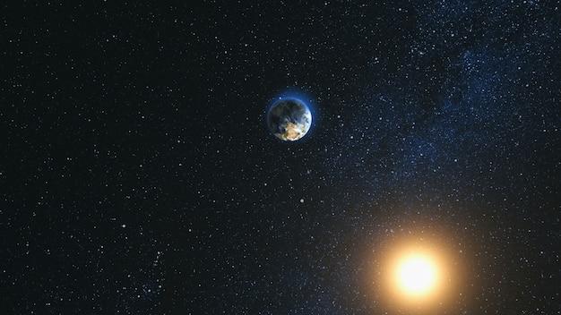 Vista do espaço no planeta terra e sol no universo Foto Premium