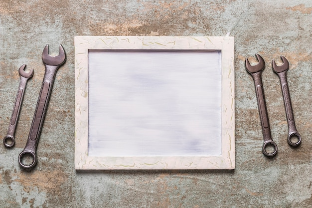 Vista elevada, de, frame retrato, perto, combinação, chave Foto gratuita